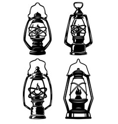 Set of old style kerosene lamps design elements vector