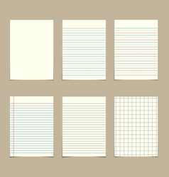 set of vintage line paper sheets vector image