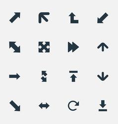 set simple arrows icons vector image