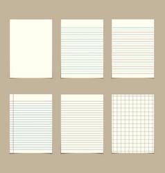 set vintage line paper sheets vector image