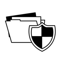 shield protection folder file data document vector image