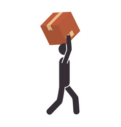 Silhouette pictogram person dispatcher with box vector