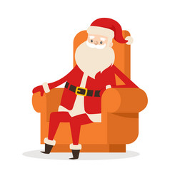 Sitting santa in armchair on white background vector