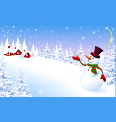 snowman on a winter background greeting card vector image