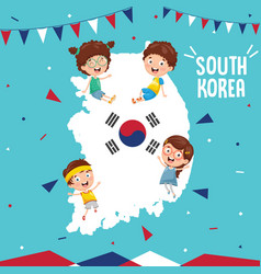 South korea flag and kids vector