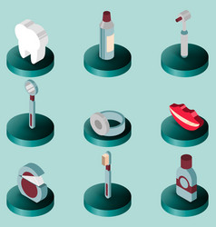 stomatology flat isometric set vector image