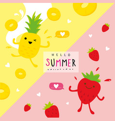 Summer fruit pineapple strawberry cartoon vector