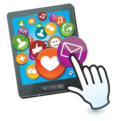 tablet pc with social media icons and hand cursor vector image