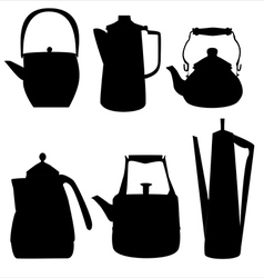 Teapots silhouettes vector