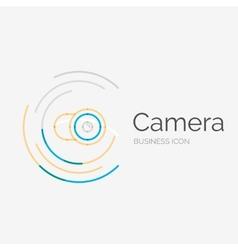 Thin line neat design logo camera concept vector image