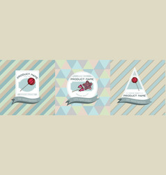 three colored labels with lollipop vector image