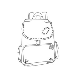 Traveller hikker old patched backpack vector