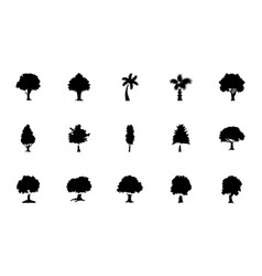 Trees glyph icons pack vector