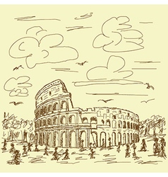 Vintage hand drawn of famous ancient tourist vector