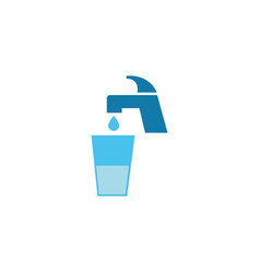 Water faucet with glass cup flat style icon vector
