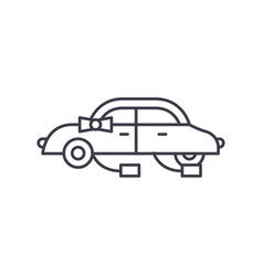 wedding car line icon concept wedding car vector image