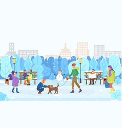 winter scenery city and citizens playing outdoors vector image