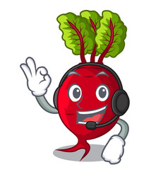 With headphone whole beetroots with green leaves vector