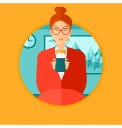 Woman drinking coffee or tea vector