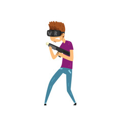 Young man cartoon character playing video game in vector