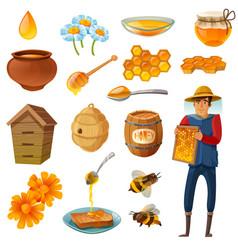 honey cartoon set vector image vector image
