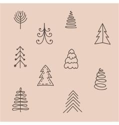 Set of hand drawn abstract Christmas tree vector image