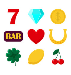set of icon slot machine sign casino and gambing vector image vector image