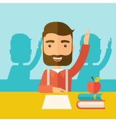 Student raising his hand vector image