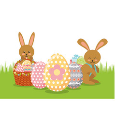 brown rabbits with baskets and eggs decoration on vector image