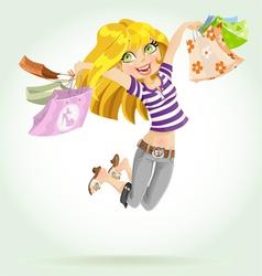 Cute blond girl shopaholic vector image