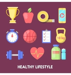 Healthy Lifestyle Fitness Icon Set vector image