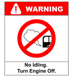 no idling or idle reduction sign on white vector image