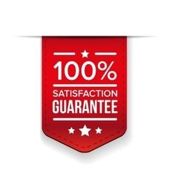 satisfaction guaranteed red ribbon vector image vector image