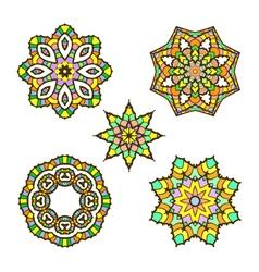 set of five abstract ornament sacred mandala vector image vector image