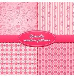 Set romantic seamless pattern vector image vector image