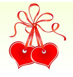 Two tied heart shaped tags vector image