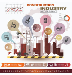 building and construction infographics icons vector image vector image