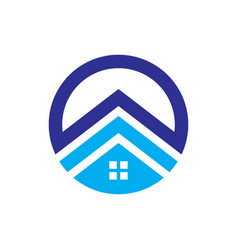 circle house roof abstract business company logo vector image
