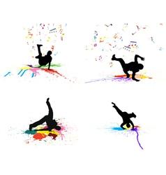 dance grunge set vector image vector image