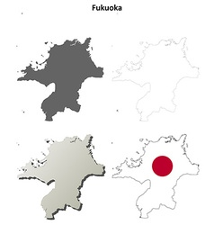 Fukuoka blank outline map set vector image vector image