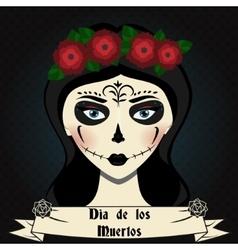 Girl with sugar skull calavera make up Mexican vector image