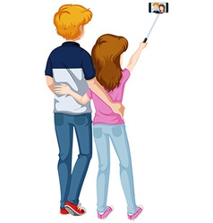 Love couple taking picture from phone vector image