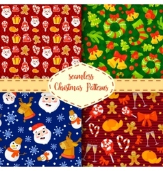 Set of Christmas seamless patterns Backgrounds vector image