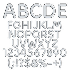 silver alphabet letters numbers and signs vector image
