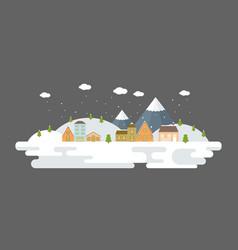 snowing urban winter landscape in flat design vector image vector image