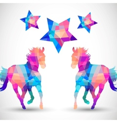 Abstract horse of geometric shapes with star vector image vector image