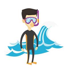 young scuba diver vector image
