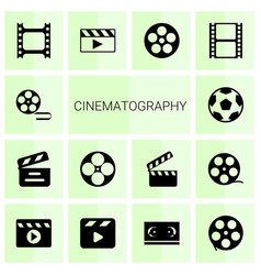 14 cinematography icons vector image