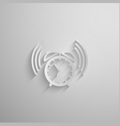an alarm clock icon with long shadow vector image