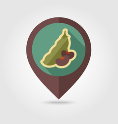 Beans flat pin map icon vegetable vector
